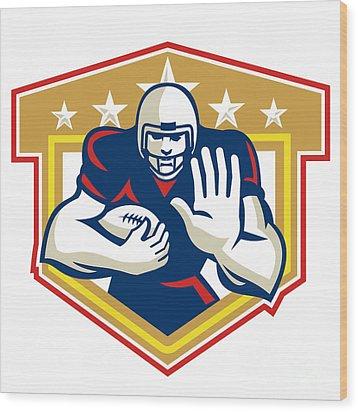 American Football Running Back Fending Shield Wood Print by Aloysius Patrimonio