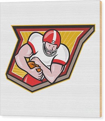 American Football Running Back Run Shield Cartoon Wood Print by Aloysius Patrimonio
