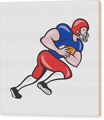 American Football Running Back Rushing Wood Print by Aloysius Patrimonio