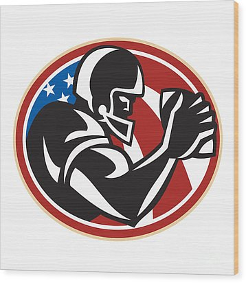 American Football Wide Receiver Ball Wood Print by Aloysius Patrimonio
