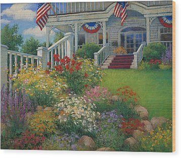 American Garden Wood Print by Sharon Will