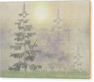 American Goldfinch Morning Mist  Wood Print