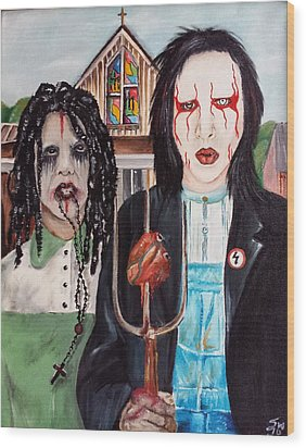 American Goth Wood Print by S G Williams