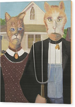 American Gothic Cat Wood Print by G Kitty Hansen
