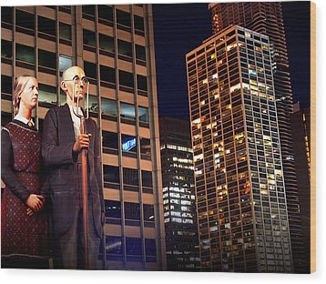 American Gothic In Chicago Wood Print