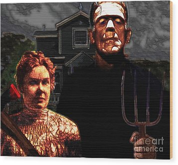 American Gothic Resurrection - Version 2 Wood Print by Wingsdomain Art and Photography