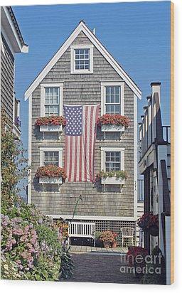 American Harbor House Wood Print by Sebastian Mathews Szewczyk