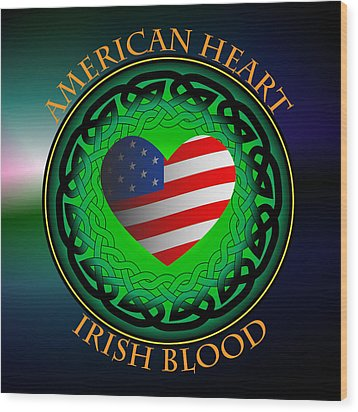 American Heart Irish Blood Wood Print