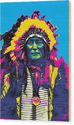 American Indian Chief Wood Print by Gary Grayson