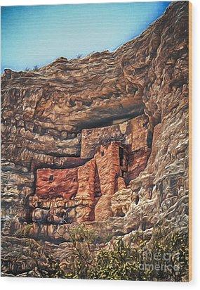 American Indian Cliff Dwelling  ... Wood Print by Chuck Caramella