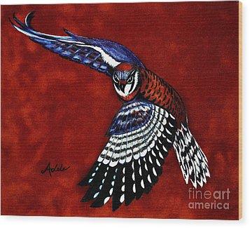 American Kestrel Wood Print by Adele Moscaritolo