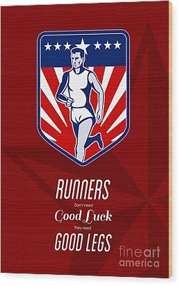American Marathon Runner Good Legs Poster Wood Print by Aloysius Patrimonio