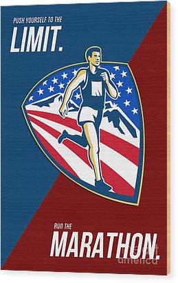 American Marathon Runner Push Limits Retro Poster Wood Print by Aloysius Patrimonio