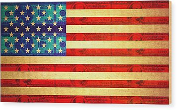 American Money Flag Wood Print