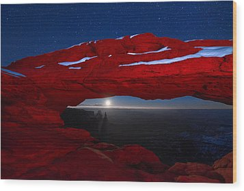 American Moonrise Wood Print