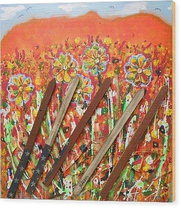 American Mornin' Flower Garden Wood Print