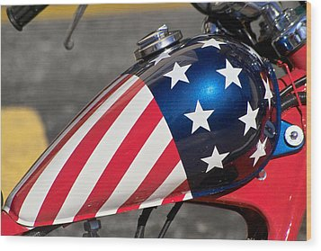 Wood Print featuring the photograph American Motorcycle by Gary Dean Mercer Clark