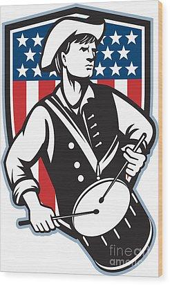American Patriot Drummer With Flag Wood Print by Aloysius Patrimonio
