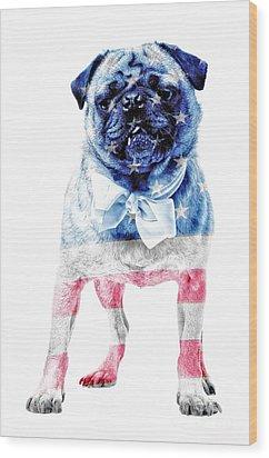 American Pug Wood Print by Edward Fielding
