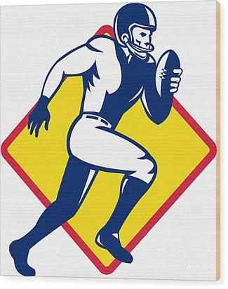 American Quarterback Football Player Running Wood Print by Aloysius Patrimonio