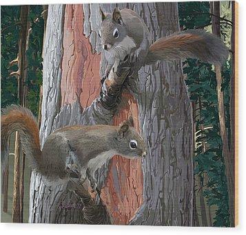 American Red Squirrels Wood Print