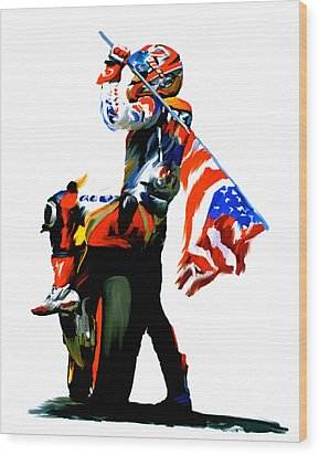 American Revolution Viii Four Nicky Hayden Wood Print by Iconic Images Art Gallery David Pucciarelli