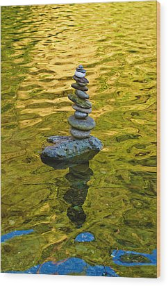Wood Print featuring the photograph American River Rock Art by Sherri Meyer