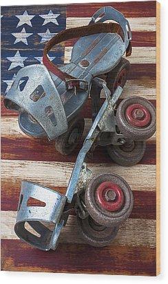 American Roller Skates Wood Print by Garry Gay