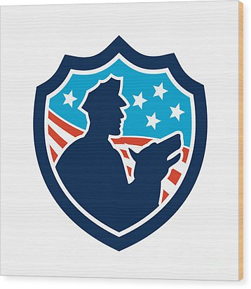 American Security Guard With Police Dog Shield Wood Print by Aloysius Patrimonio