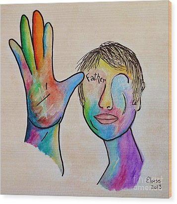 American Sign Language  Father Wood Print by Eloise Schneider