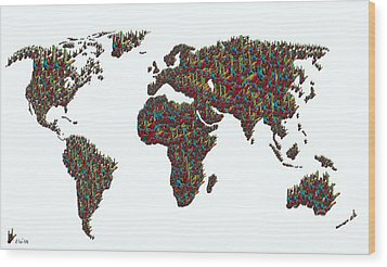 American Sign Language ... I Love You World Map  Wood Print by Eloise Schneider