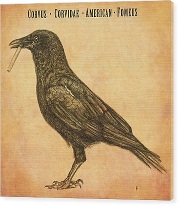 Wood Print featuring the drawing American Smoking Crow by Penny Collins
