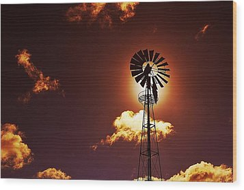 American Windmill Wood Print by Marco Oliveira