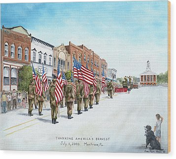America's Brave Wood Print by Carol Angela Brown