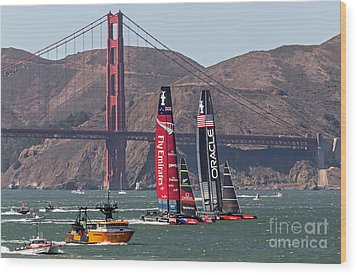 Americas Cup At The Gate Wood Print