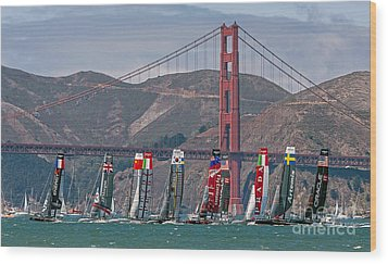 Americas Cup Catamarans At The Golden Gate Wood Print by Kate Brown