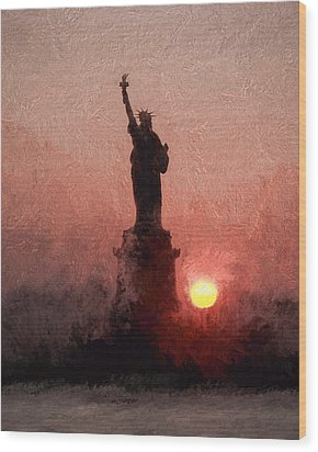 Sunset On Liberty Wood Print by Ike Krieger