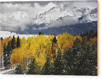 America's Mountain Fall Wood Print by The Forests Edge Photography - Diane Sandoval