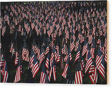 Wood Print featuring the photograph Field Of Flags - Sturbridge Mass. by Jacqueline M Lewis