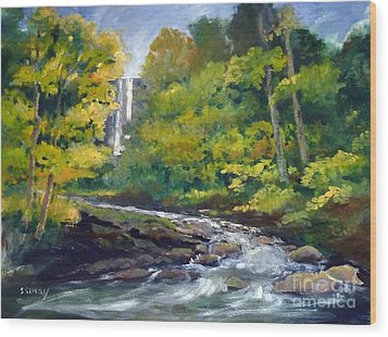 Amicalola Falls Painting Wood Print by Sally Simon