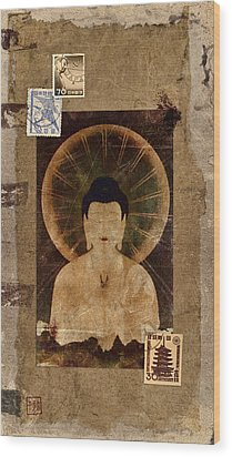 Amida Buddha Postcard Collage Wood Print by Carol Leigh