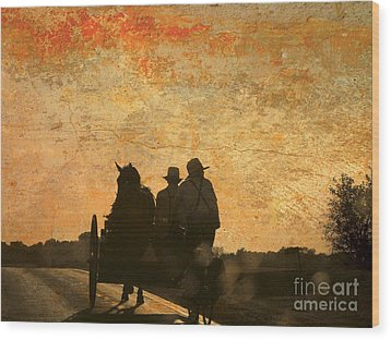 Amish After A Hard Days Work Wood Print