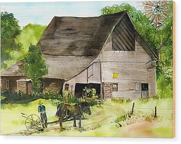 Wood Print featuring the painting Amish Barn by Susan Crossman Buscho