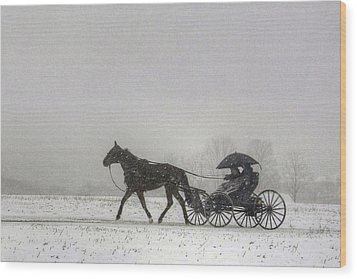 Amish Buggy Ride In The Snow Wood Print