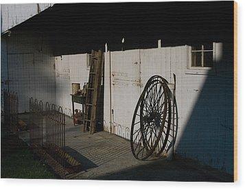 Amish Buggy Wheel Wood Print
