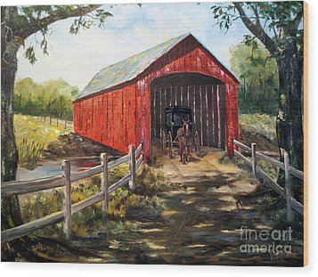 Amish Country Wood Print by Lee Piper