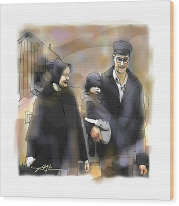 Wood Print featuring the drawing Amish Family by Bob Salo