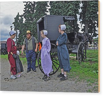 Amish Family Travelers Wood Print by Brian Graybill