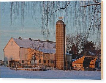 Amish Farm At Turquoise Dusk Wood Print