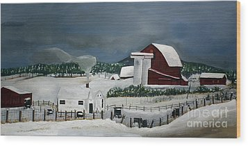 Wood Print featuring the painting Amish Farm - Winter - Michigan by Jan Dappen